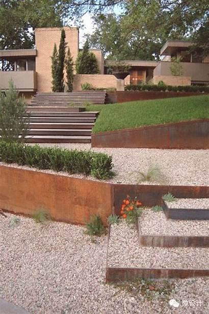 Retaining Wall Landscaping Modern Corten Steel Landscape