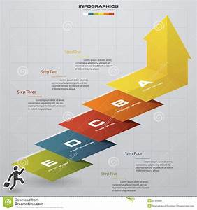 Business Chart  5 Steps Diagram Template  Vector  Step By