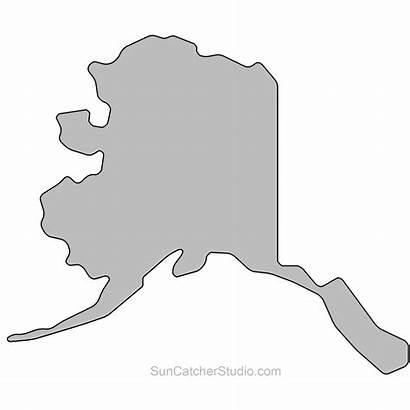 Alaska State Clipart Printable Stencil Outline Map
