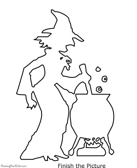 scary witch halloween coloring page