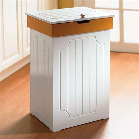 modern decor garbage bin white wooden kitchen trash storage organizer 13 gal can ebay