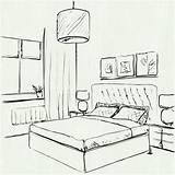 Bedroom Interior Room Drawing Line Pencil Basic Drawn Getdrawings Paint sketch template