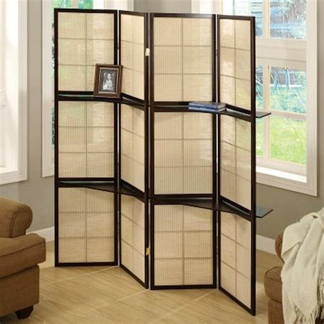 Cappuccino Wood Framed 4panel Room Divider With Shelves