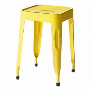 La Maison Du Tabouret : tabouret indus en m tal jaune jim maisons du monde ~ Preciouscoupons.com Idées de Décoration