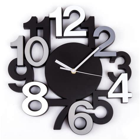 pendule de cuisine moderne horloge murale silencieuse chiffres 3d noir maison futée