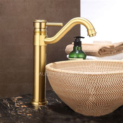 Luxury Vessel Mount Polished Brass Single Hole Faucet For Bathroom