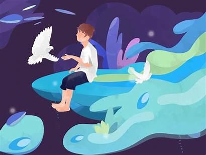 Dream Night Midsummer Dove Flying Iv Illustration