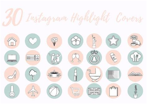 Instagram story highlights icons free; 30 Instagram Story Highlight Icons - Pastel Pink and Mint Icon Covers for Bloggers, Girl Boss ...