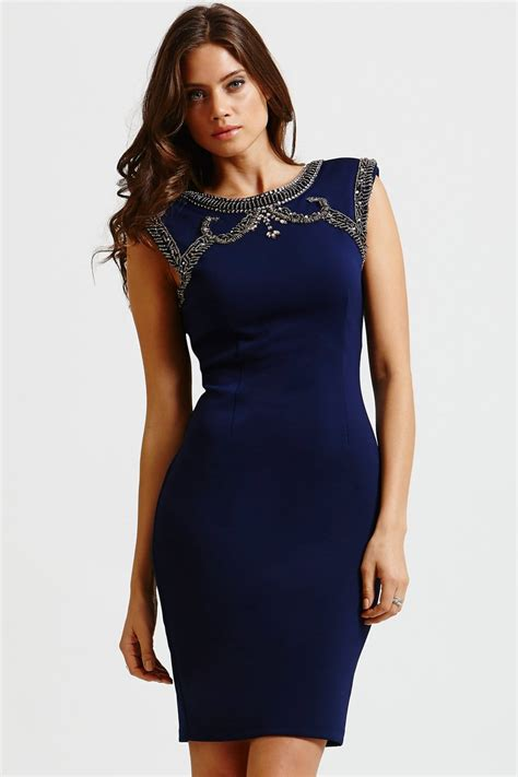 mistress navy embellished top bodycon dress