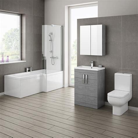 bathroom suites ideas grey avola bathroom suite with l shaped bath