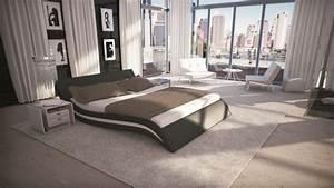Lit Rond 160x200 : lit design bicolore 160x200 cm noir et blanc en simili laren gdegdesign ~ Teatrodelosmanantiales.com Idées de Décoration