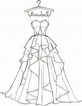 Coloring Dresses Drawings Sketch Draw Sketches Barbie sketch template