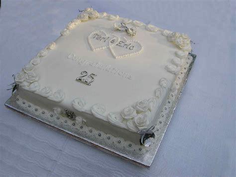 Silver 25th Wedding Anniversary Cake