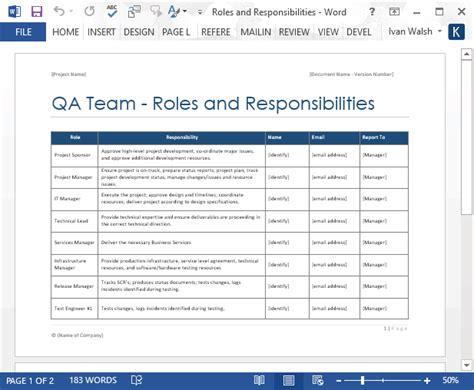 qa team roles  responsibilities form ms word