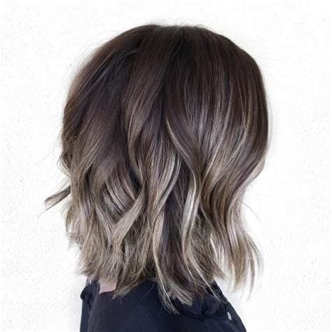 ideas  gray  silver highlights  brown hair