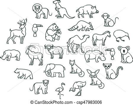 animal icons zoo animals animal icons vector outline