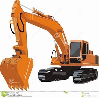 Excavator Orange Vector Caterpillar Illustration