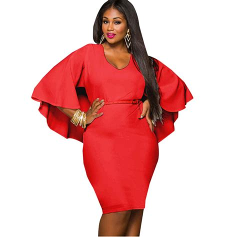 women dresses  chubby girls red dress  belt stretch