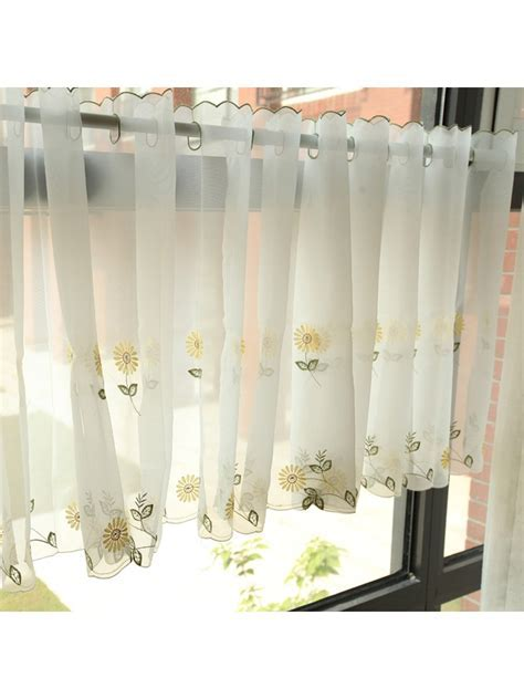 Winston Daisy Embroidered Grommet Cafe Sheer Curtains for