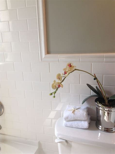 bathroom subway tile white mirror for the home