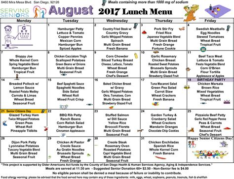 august  lunch menu   mira mesa center