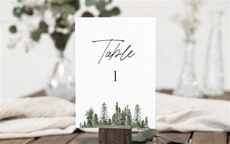 winter wedding table number template rustic wedding table