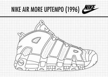 Templates Sketch Nike Coloring Pages Jordan Sneakers