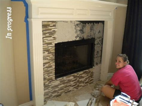 glass mosaic tile fireplace with the p s