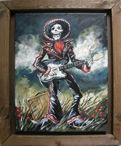 Mariachi Guitar Electric Mad Skeleton Mexican Craft
