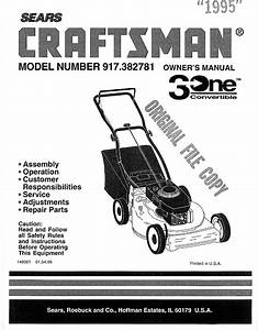 Craftsman 917382781 User Manual Lawn Mower Manuals And