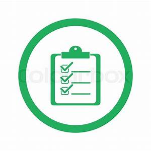 Flat green Clipboard Checklist icon and green circle ...