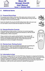 Bison Bede Na1 Stairlift Controller User Manual Contents
