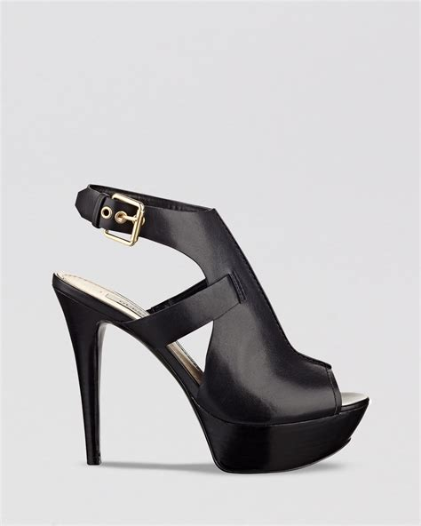 betsey johnson shoes guess open toe sandals ofria high heel in black lyst