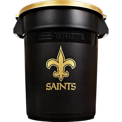 rubbermaid commercial products brute nfl  gal  orleans saints  trash   lid