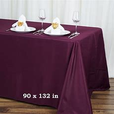 """90"""" X 132"""" Polyester Tablecloth Wedding Party Table Linens"""