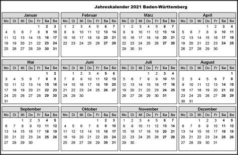 Klassische, generische kalendervorlagen für zu hause oder das büro. Jahreskalender 2021 Baden-Württemberg PDF | The Beste Kalender