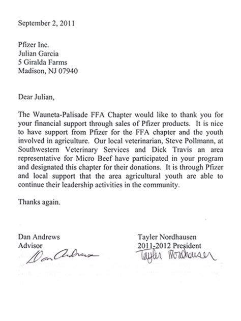 ffa cover letter thank you letter to sponsors of event sponsor thank you