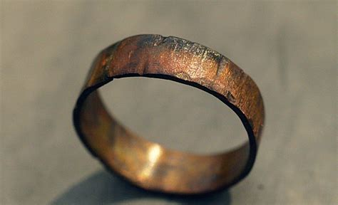 custom copper ring band rugged wood texture ring s