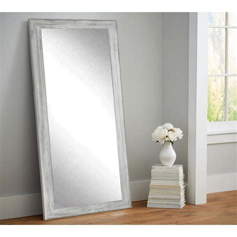 floor mirror and wall mirror weathered gray full length floor wall mirror bm035ts the home depot
