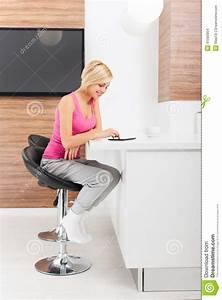 Woman Tablet Sitting Table Home Stock Photo - Image: 41560904  Sitting