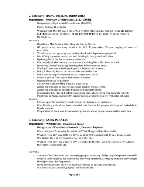 Rig Resume Format by Rig Store Keeper Resume