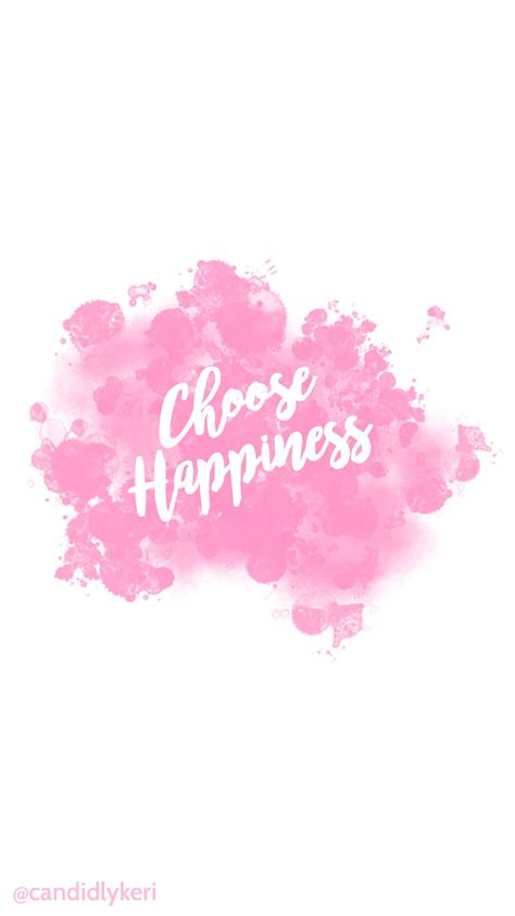choose happiness quote pink splatter paint watercolor