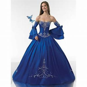 Ball Gown Strapless Ruched Embroidery Satin Long Royal ...