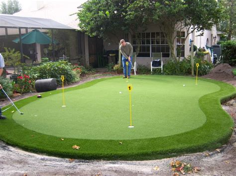 Backyard Artificial Putting Green by Residential Synthetic Putting Green Pictures Eclectic