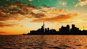 Toronto, Canada, Sunset, Buildings, Sea, 4k, Toronto, Sunset, Canada
