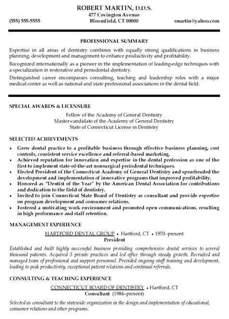 Dental Resume Exles by Curriculum Vitae Sles For Dentist
