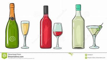 Liquor Bottle Wine Glass Vector Champagne Illustration