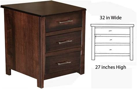 32 Inch Wide Dresser by The Amish Custom Three Drawer Stand Is 32 Inches