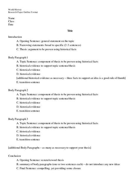 Research Paper Outline Template Elementary Research Paper Outline Template Outline