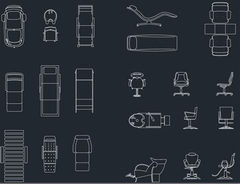 furniture for salon free cad block and autocad